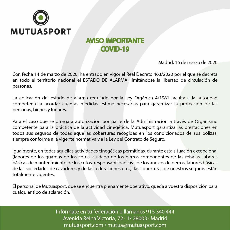 AVISO IMPORTANTE COVID 19