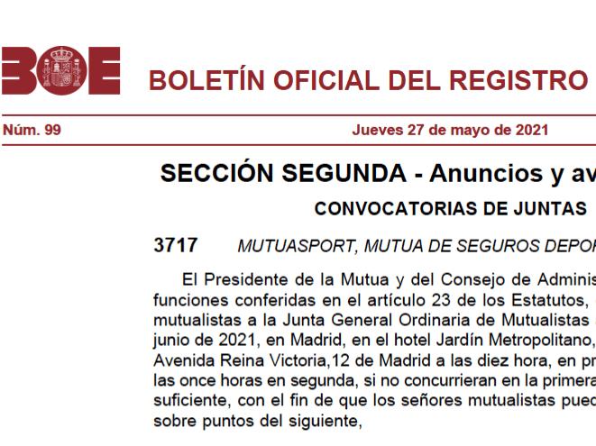 CONVOCATORIA JUNTA GENERAL ORDINARIA DE MUTUASPORT