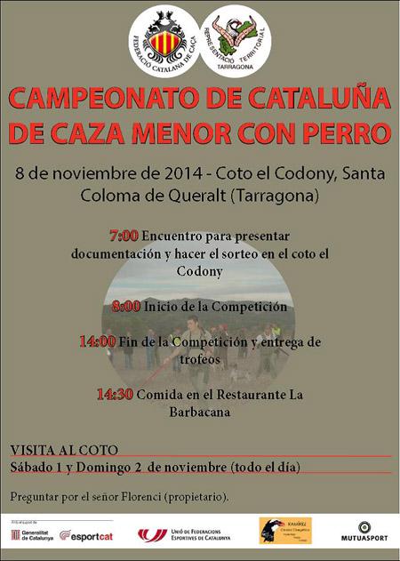 El próximo domingo se celebra el Campeonato de Cataluña de Caza Menor con Perro