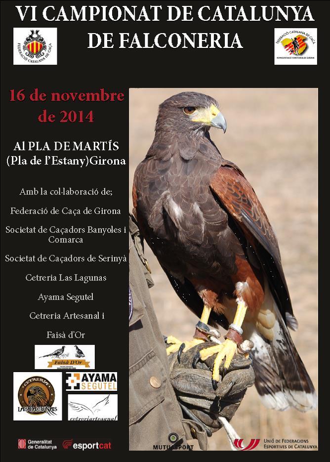 La Federación Catalana de Caza celebra el VI Campeonato de Cetrería el 16 de noviembre