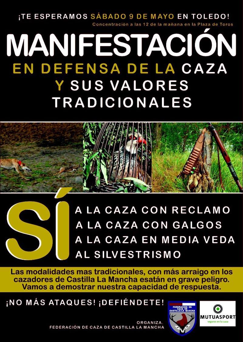 La Federación de Caza de Castilla-La Mancha convoca una manifestación en apoyo a la caza el nueve de mayo en Toledo