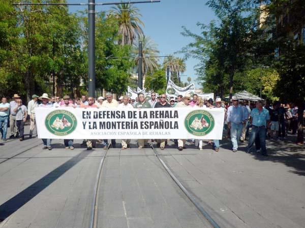 Los cazadores se manifiestan en defensa de la rehala y de la montería española